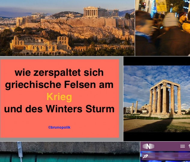 "Screen-Shot der Twitter-Fotos mit dem Hashtag ""Athen"" und einer Brunopoliks Haiku-Poetry-Strophe aus dem Text ""Wassers Brüllen"" zur documenta 14 WebART-Performance"