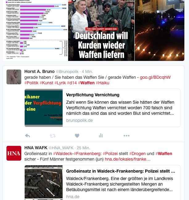 """Screen-Shot - Twitter-Fotos mit Hashtag """"Waffen"""" einer Haiku-Strophe aus dem Poetry-Text der PolitikerInnen-Worte """"Verpflichtung Vernichtung"""""""