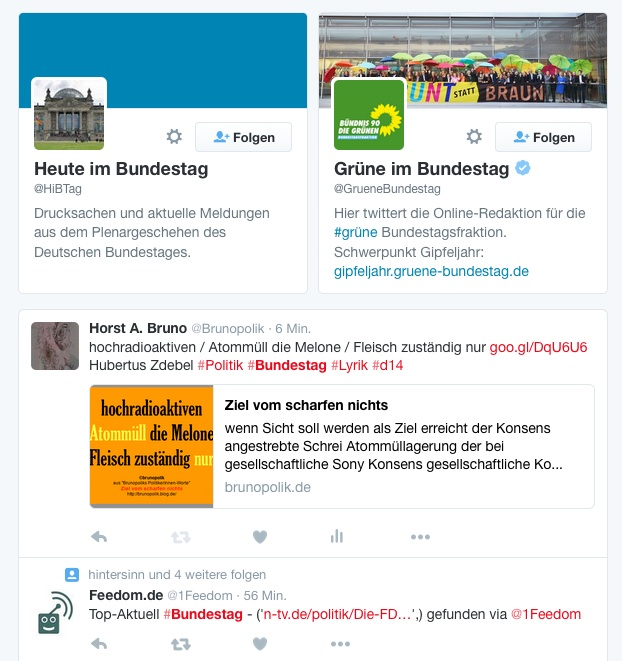 Screen-Shot des Twitter-Tweets von Hashtag Bundestag am 30.12.15