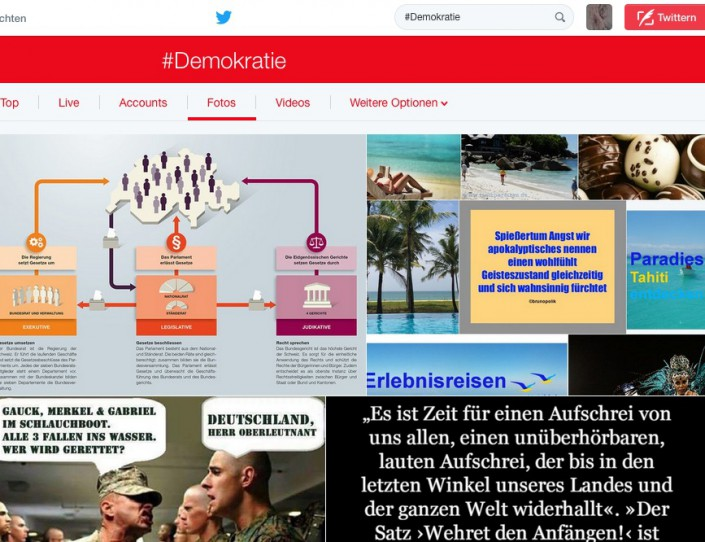 "Screen-Shot Twitter-Foto Hashtag #Demokratie mit Screen-Shot ""Spießertum Angst"""
