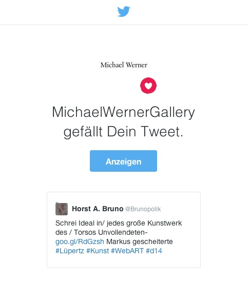 Screen-Shot Twitter-E-Mail der MichaelWernerGallery vom 29.03.16