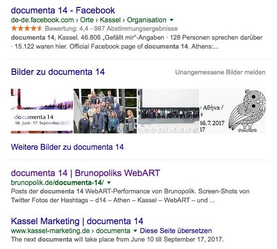 Screen-Shot der Google-Suche: documenta 14 Seite 1 am 20.04.16