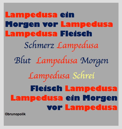 "Screen-Shot von 3 Haiku-Strophen aus dem Poetry-Text ""Lampedusa"""