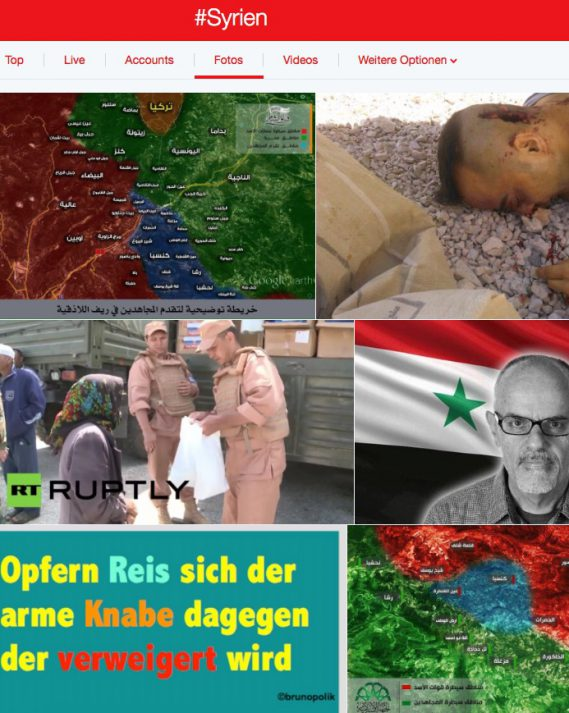 Screen-Shot Twitter-Fotos Hashtag #Syrien vom 01.07.16