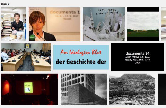 """Screen-Shot der Google-Bilder der """"documenta 14"""" Seite 7 mit dem Logo von Brunopolik """"Am Ideologien Blut - der Geschichte der""""."""