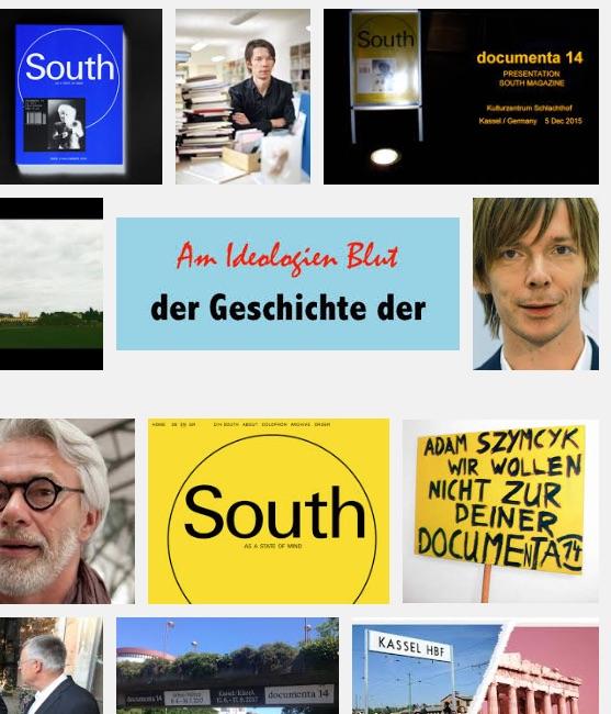 """Screen-Shot der Google-Bilder zur """"documenta 14"""" mit dem Logo von Brunopolik """"Am Ideologien Blut - der Geschichte der""""."""