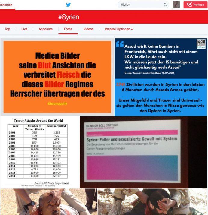 """Screenhot Twitter-Foto vom 16.07.16 des Hashtag Syrien mit einem Screenshot einer Tank-Strophe aus dem Poetry-Text """"Herrscher sich mahlen"""""""
