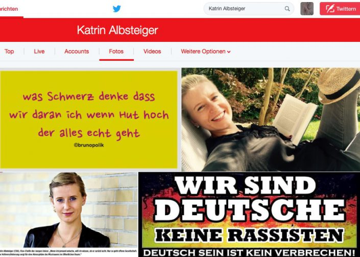 "Screenshot Twitter-Fotos - Katrin Albsteiger mit Haiku aus Poetry-Text ""Echt Opposition"""