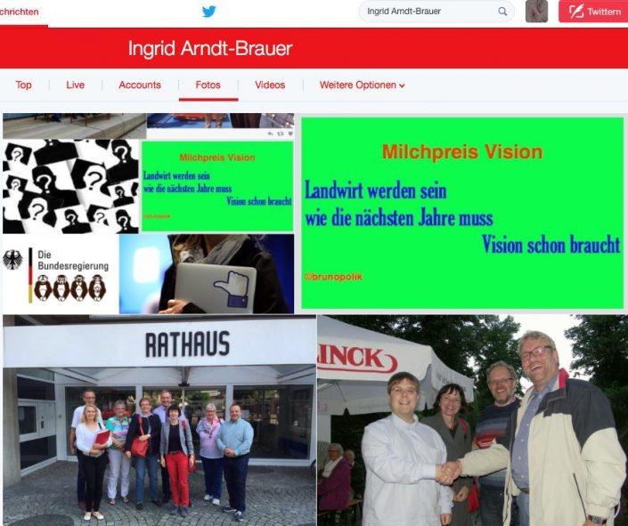"""Screenshot Twitter-Fotos Ingrid Arndt-Bauer mit Haiku-Strophe aus dem Poetry-Text der PolitikerInnen-Worte """"Milchpreis Vision"""""""