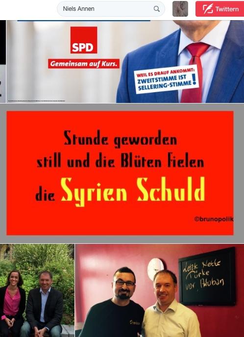"""Screenshot einer Haiku-Strophe aus dem Poetry-Text der PolitikerInnen-Worte """"Syrien Schuld"""" in den Twitter-Fotos unter dem Stichwort des SPD-Bundestagsabgeordneten Niels Annen."""