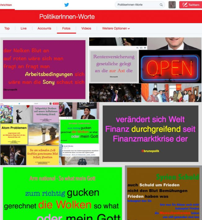 Screenshot Twitter-Fotos PolitikerInnen-Worte - diverse Poetry-Texte