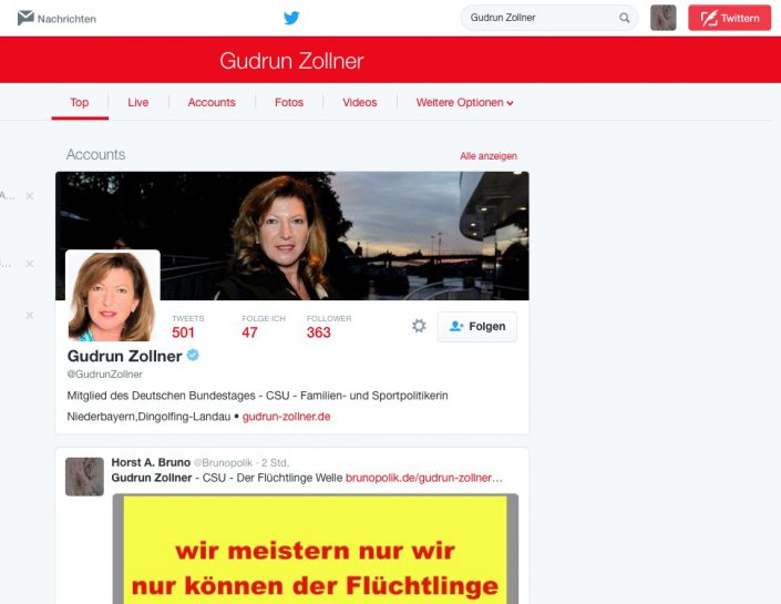 Screenshot Twitter - Gudrun Zöllner
