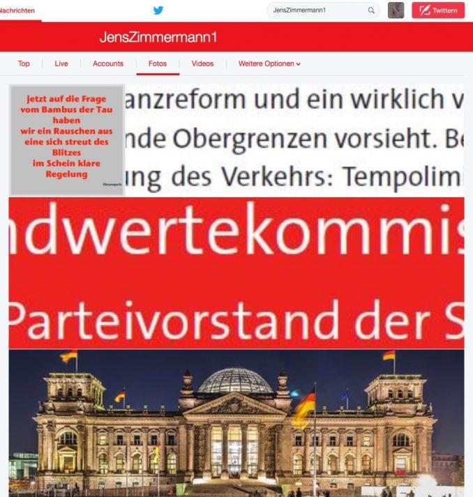 """Screenshot aus den Twitter-Fotos zum SPD-Bundestagsabgeordneten Dr. Jens Zimmermann mit einer meiner Tanka-Strophen aus dem Poetry-Text """"Regelung auf Macht"""""""