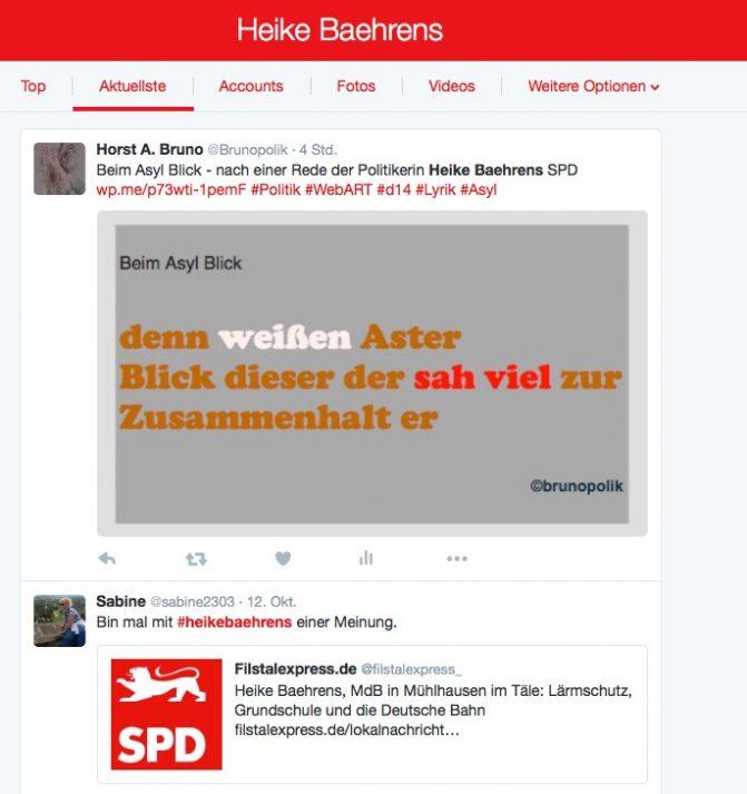 Screenshot Twitter - Heike Behrens - SPD-Bundestagsabgeordnete