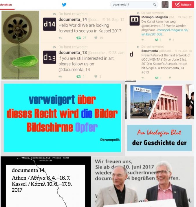 "Screenshot aus den Twitter-Fotos zur ""documenta14""  vom 30.09.16 - von der documenta 13 zur documenta 14."