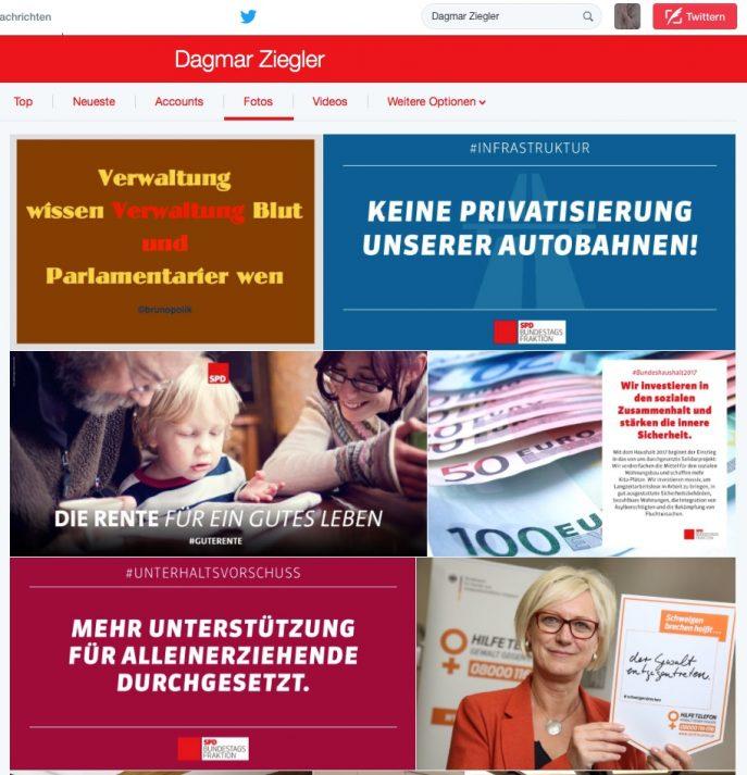 """Screenshot Twitter-Fotos am 29.11.16 von Dagmar Ziegler, SPD Bundestagsabgeordnete u.a. mit einer Strophe aus dem Haiku-Poetry-Text der PolitikerInnen-Worte """"Wissens Abgeordnete"""""""